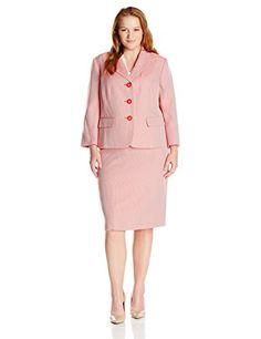 2dd14ad78 Le Suit Women's Plus Size Tweed 3 Button Skirt Suit Tangerine/White 14W  Button Skirt