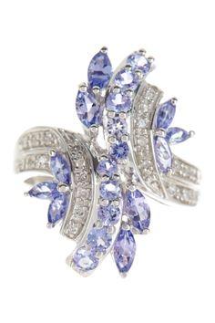 Rhodium plated sterling silver, tanzanite, white diamonds 0.12 ctw