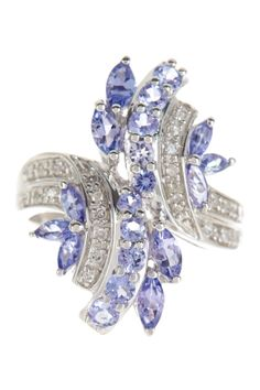 White Diamond & Tanzanite Curved Ring - 0.12 ctw