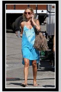 Buy it: Kate Hudson's aqua blue Gyspy 05 Hampton Silk Tuxedo Mini Dress - McFadin Fringe Bag