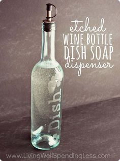 Easy DIY Home Decor on a Budget | Upcyclced Ideas with Bottles | Wine Bottle DIY Soap Dispenser| DIY Projects and Crafts by DIY JOY at http://diyjoy.com/craft-ideas-diy-soap-dispensers