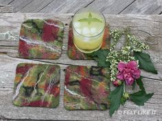 beautiful reversible felted coasters by Monika Schaefer of Felt Like it 222 on Etsy. Also www.MonikaSchaefer.com