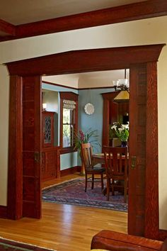 A Well Tended Bungalow — Arts & Crafts Homes and the Revival I love the colors and the pocket doors!!