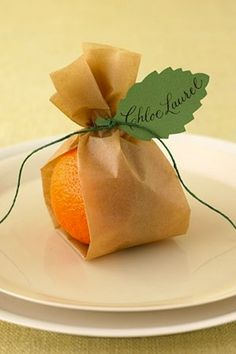 Fruit as a wedding favor..... really cute. Married in Florida? Give an orange! Married in Georgia? Give a peach! etc.