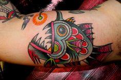 Ramona Masson, Ink Lady Tattoo, Liege Belgium, colorful oldschool fish