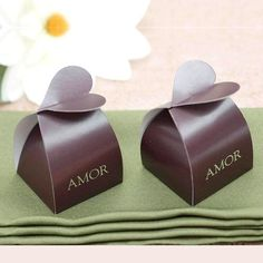 Chocolate Amor Favor Box - 100pc   100 PCS Chocolate Amor Bridal Shower Party Favor Gift Boxes