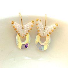 Beaded Swarovski Earrings / Gold Beaded Earrings by Ranitit