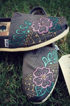 Womens  Floral Lace Grey Henna Custom TOMS Shoes by ibleedheART, $100.00