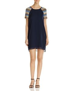 Scotch & Soda Metallic Stripe Sleeve Dress