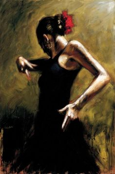 Fabian Perez flamenco dancer in black Dress painting is shipped worldwide,including stretched canvas and framed art.This Fabian Perez flamenco dancer in black Dress painting is available at custom size. Fabian Perez, Spanish Dancer, Spanish Art, Dress Painting, Oil Painting On Canvas, Black Painting, Umbrella Painting, Oil Paintings, Painting Art