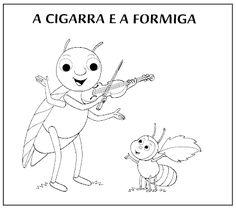Mundo Infantil: Contos » A Cigarra e a Formiga - COM DESENHOS PARA COLORIR Kindergarten, Snoopy, Lily, Photo And Video, Math, Funny, Fictional Characters, Moral, Reading Projects