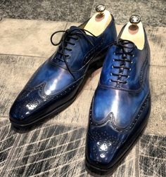 dandypunkshoes JM Gazel the blue patina on blue wingtips, making you Instantly recognizable to Dandy's DandyPunks and everywhere.