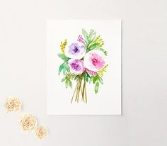 Watercolor Floral Print Watercolor Flowers Flower Print