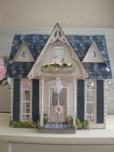 Cinderella Moments: Dream Cottage Dollhouse using Greenleaf Orchid kit Shabby Cottage, Shabby Chic Homes, Shabby Chic Decor, Romantic Cottage, Shabby Bedroom, Rustic Cottage, Cottage Living, Coastal Cottage, Cottage Style
