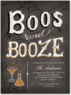 Boos and Booze Halloween Party Invites