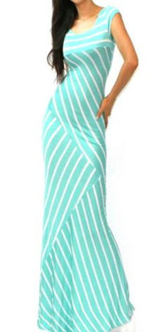 Fashion Sleeveless Round Neck Striped Maxi Dress