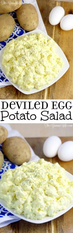 Deviled Egg Potato Salad Recipe - Easy potato salad side dish recipe inspired by devil eggs. Perfect for BBQ, picnics, and cookouts. Best potato salad I've ever had