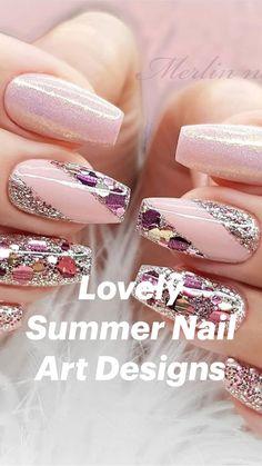 Nail Art Designs, Cute Acrylic Nail Designs, Beautiful Nail Designs, French Manicure Nails, Gel Nails, Nail Polish, Purple And Silver Nails, Pink Nails, Ongles Bling Bling