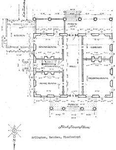 Antebellum architecture, Plantation home floor plan. Belle