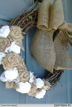 Burlap and Lace Flower Wreath