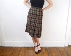 1960s Wool Plaid Skirt   S by LoveCharles on Etsy, $33.00 - go vintage
