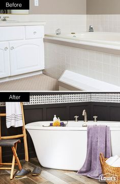 Turn an outdated master bathroom into a modern classic. An oval soaking tub and basketweave, mosaic tile with dark grout offer sleek contrast to weathered, wood-look floor tiles. This bathroom was designed and remodeled through Lowe's of Medford, OR. Click this pin to learn more about installation services.