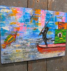 CaT FiSHiNG~BOAT~ Maine FOLK ART outsider~COASTWALKER~