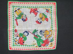 Vintage Childrens Handkerchief 1950s Era Soldier Boy Mailman Knitting Dogs Cute #Unbranded #Novelty #Everyday