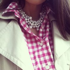 pearls + pink gingham,what else! Preppy Style, Style Me, Beautiful Outfits, Cute Outfits, Summer Outfits, Passion For Fashion, What To Wear, Dress To Impress, At Least