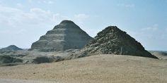 Egypt.Saqqara.Panorama.01 - Saqqara - Wikipedia, the free encyclopedia -- View of Saqqara necropolis, including Djoser's step pyramid (centre), the Pyramid of Unas (left) and the Pyramid of Userkaf (right).