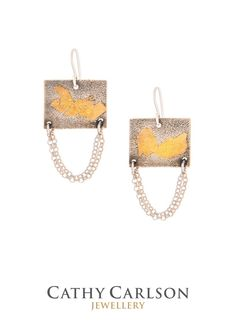Do you love mixed metal jewellery as much as I do? These Athena Horizontal Textured Rectangle Sterling Silver Chain Earrings  are exactly that, a mix of textured Sterling Silver and 24k Gold.  Please don't forget to add this pin to your board.  //Gifts For Her//Custom Jewellery//Custom Jewelry//Quality Jewellery//Quality Jewelry// Jewelry Gifts For Her//Jewellery Gifts For Her//#sterlingsilver #goddess #24kgold #keumbo #oxidized