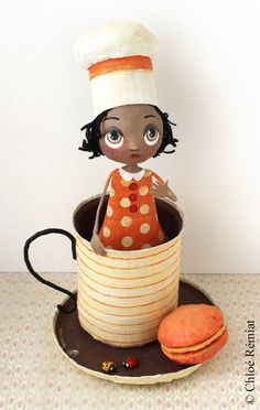 "Demoiselle dans sa tasse ""A cup of Chocolate"", OOAK doll by chloeremiat on Etsy https://www.etsy.com/uk/listing/289444495/demoiselle-dans-sa-tasse-a-cup-of"