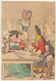 """""""Fortune Teller,"""" French watercolored engraving, c. 1800"""