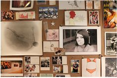Templeton house -- corkboard + art/photos/postcards/etc.