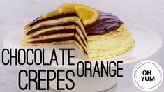 The Chocolate Orange Crepe Torte is made layered crepes with a homemade orange cremeux and chocolate ga. Chocolate Crepes, Chocolate Orange, Baking Tips, Baking Recipes, Candied Orange Slices, Sweet Breakfast, Breakfast Recipes, Anna Olson, Crepe Cake