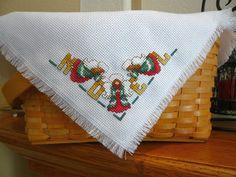 Angel Noel Basket Liner  Bread Cloth  shelf by TheGardenStitcher