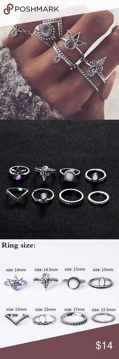 """New 8pc Bohemian Style Midi Ring Set All 8pc included. I also have HENNA tattoos for sell to go along with the Midi Ring Set. Save more when you  """"add to bundle""""  I'll send u a private offer. Color: antique silver; Material: zinc alloy  Brand new ✅  Boutique Item  Not accepting OFFERS on INDIVIDUAL ITEMS ❌ No trades ❌ No holds❌   Prices are FIRM  If u have any questions plz ask before purchase is made Jewelry Rings"""