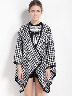 Women Casual Houndstooth Print Loose Three Quarter Sleeve Shawl Coat - Gchoic.com