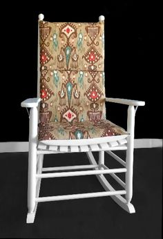 Indian Style Rocking Chair Cover, Colorful Adjustable Seat Covers | affordable, designer, custom, handmade, trendy, fashionable, locally made, high quality Rocking Chair Covers, Rocking Chair Cushions, Chair Cushion Covers, Seat Covers, Ikea Kids Room, Kids Room Organization, Ikat Print, Kids Room Design, Slipcovers For Chairs