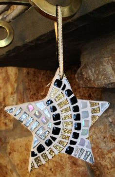 Holiday Ornament Glitter Art Deco Mosaic Art by hamptonmosaics, $35.00