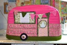 Vintage Caravan Sewing Machine Cover in Bright Pastels and Trimmed with Beautiful Green made by pattern by Janine