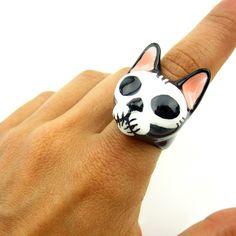 Sugar Skull Cat Ring