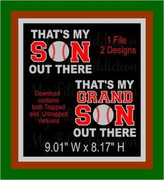 That's My Son & Grandson Out There Baseball Mom Grandma Nana Instant Download SVG EPS Vinyl Design File by MyFileAddiction