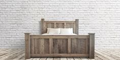 Custom Rustic King Bed Do It Yourself Home Projects from Ana White Cali King Bed, King Beds, Rustic Bedroom Furniture, Rustic Bedding, Basement Furniture, Modern Bedding, Bedroom Sets, Bedding Sets, Master Bedroom