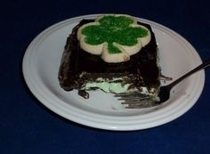 Chocolate mint Eclair dessert for St. Patrick's Day.