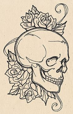 Light, scribbly stitching makes up a tattoo-style skull and roses design. Gorgeous on garments and more!
