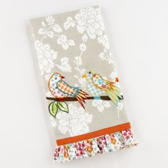 One of my favorite discoveries at WorldMarket.com: Love Birds Tea Towel  another consideration for making curtains in the kitchen