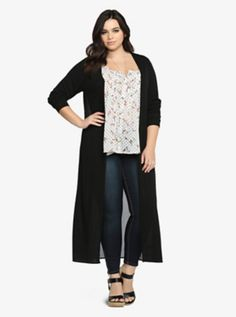 Chiffon Knit Long Duster....this would look better with the right dress.