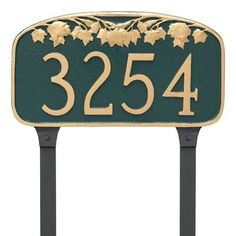 Montague Metal Products Maple Leaf Address Plaque Finish: Navy/Silver