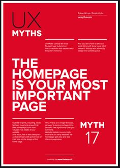 Una serie di poster che graficamente rappresentano i 32 miti da sfatare sul mondo della user experience e il web design.